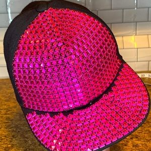 Claire's Metallic Pink Colored Studded Hat